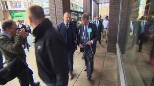 Nigel Farage hit by milkshake in Newcastle