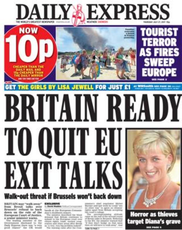 Daily Express front page - 27/07/17
