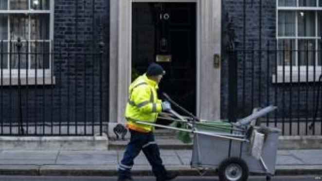 Road sweeper outside No 10 Downing Street