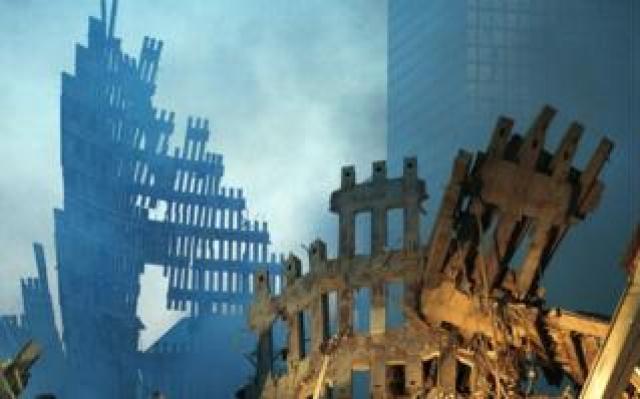 Wreckage of the World Trade Center September 13, 2001 in New York City