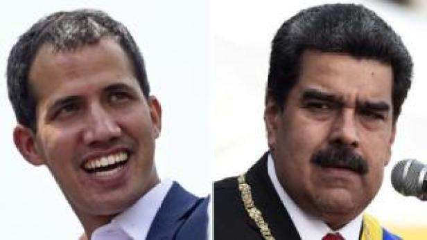 A composite picture shows Venezuelan opposition leader Juan Guaidó (L) smiling during a gathering of supporters in Caracas in February, 2019, and Venezuelan President Nicolás Maduro delivering a speech during the ceremony of recognition by the Bolivarian National Armed Forces (FANB) in Caracas in January 2019