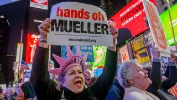 Image shows the Hands Off Mueller protest in New York last November