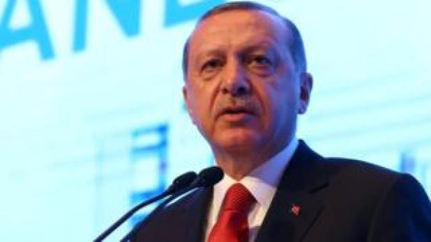 Turkish President Tayyip Erdogan makes a speech during the Atlantic Council Istanbul Summit, April 28, 2017