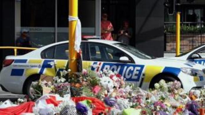 Flowers in Christchurch after the shootngs in March 2019