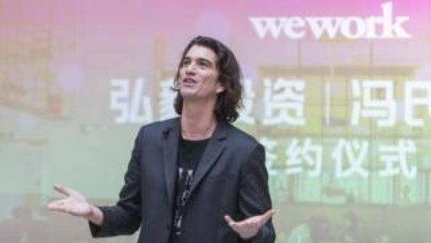 Adam Neumann, co-founder and chief executive officer of WeWork, speaks during a signing ceremony at WeWork Weihai Road flagship on April 12, 2018 in Shanghai, China.