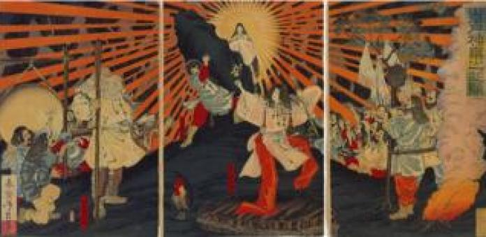 Amaterasu emerging from its cave - Japanese woodcut