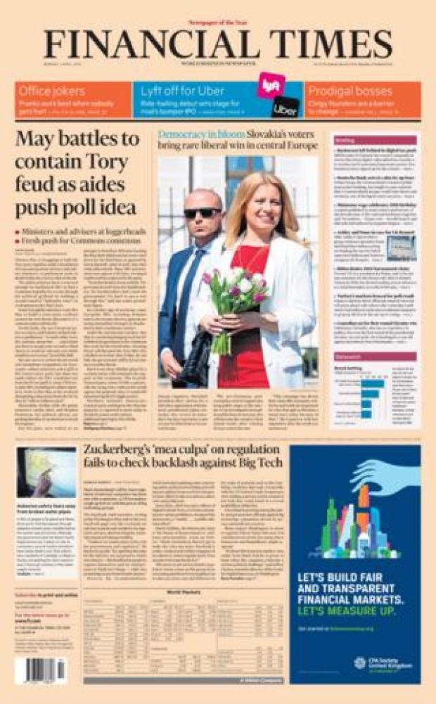Monday's Financial Times front page