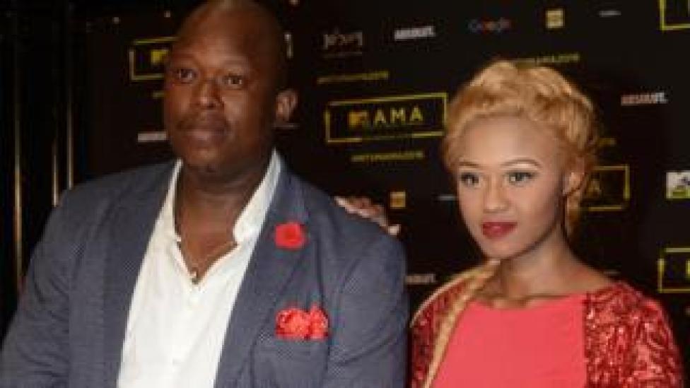 Big Nuz's Mampintsha and Babes Wodumo during the 2016 MTV Africa Music Awards