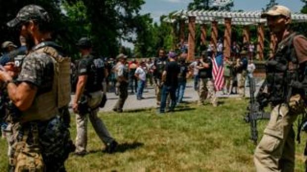 White nationalists assemble to protect the historic grounds in Gettysburg, Pennsylvania, 4 July 2020
