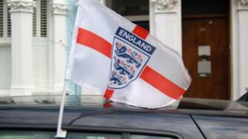 England flag attached to car