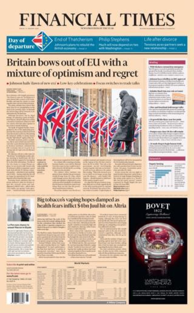Friday's FT front page