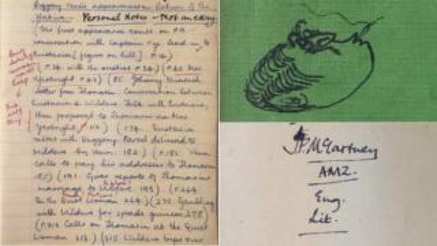 Paul McCartney's English Literature exercise book