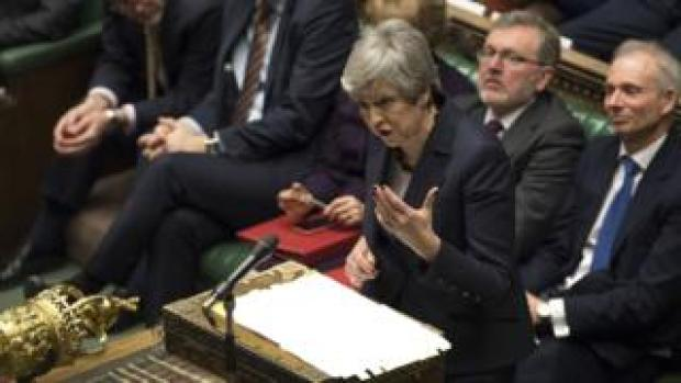 Theresa May speaking in the Commons on 27 March