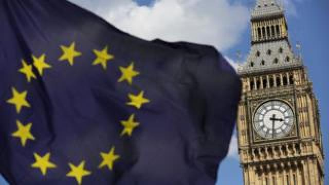 EU flag with House of Commons
