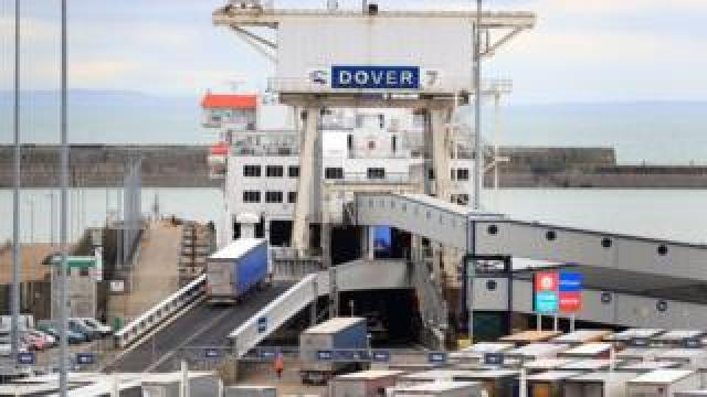 Lorries at Dover ferry terminal