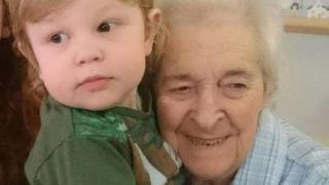 Mrs Livermore and her great grandson Michael