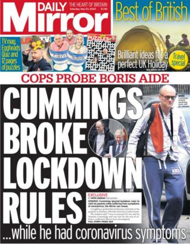 Daily Mirror front page 23 May
