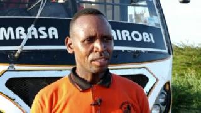 Raymond Juma driver of the Mombasa Raha bus travelling from the coastal region of Lamu to Malindi