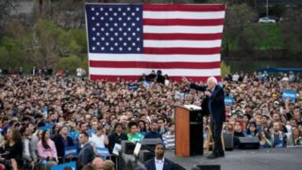 Bernie Sanders speaks to supporters in Texas