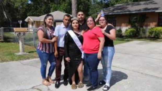 Ariana Diaz celebrating her birthday with her family
