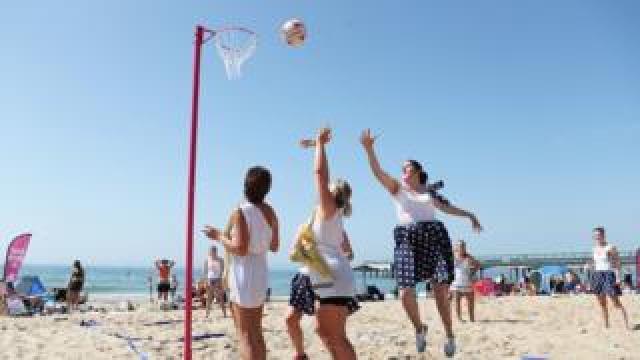 A beach netball tournament on Boscombe Beach in Bournemouth