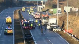 Twelve-car crash sees A19 closed in County Durham - BBC News
