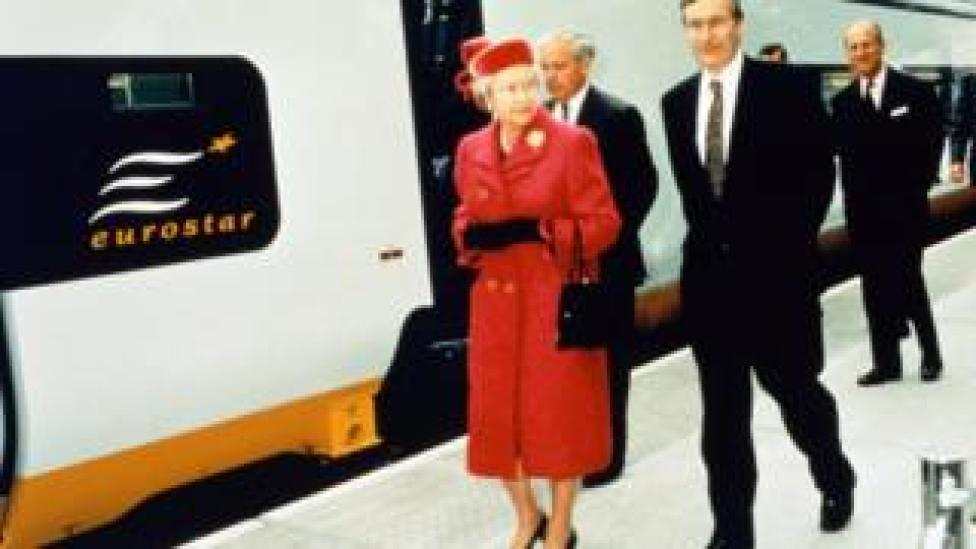 Queen Elizabeth II attending the inauguration of the Eurostar at Waterloo station in 1994