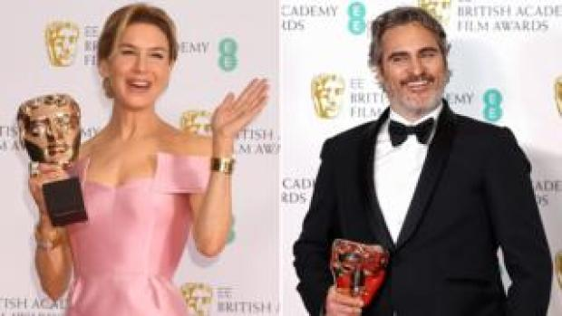 Renee Zellweger and Joaquin Phoenix at the 2020 Bafta Film Awards