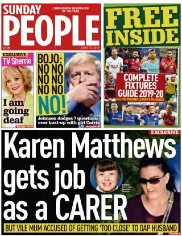 Sunday People front page 23.06.19