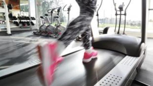 A woman running on the treadmill