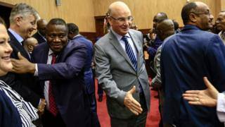 AU commissioner Smail Chergui (c) at talks in the Sudanese capital Khartoum on January 24, 2019