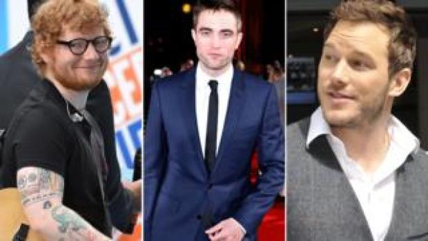 Ed Sheeran, Robert Pattinson and Chris Pratt