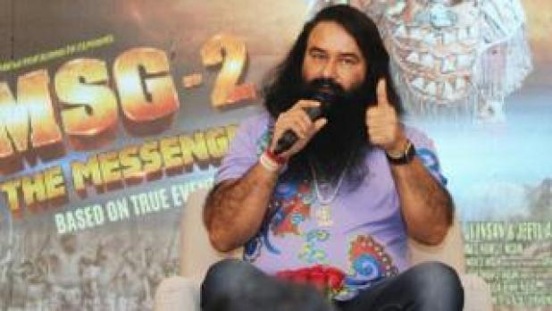 "India's self-styled guru and spiritual leader Gurmeet Ram Rahim Singh speaks prior to the release of his film ""MSG Messenger of God"" II in New Delhi, India, 14 September 2015"