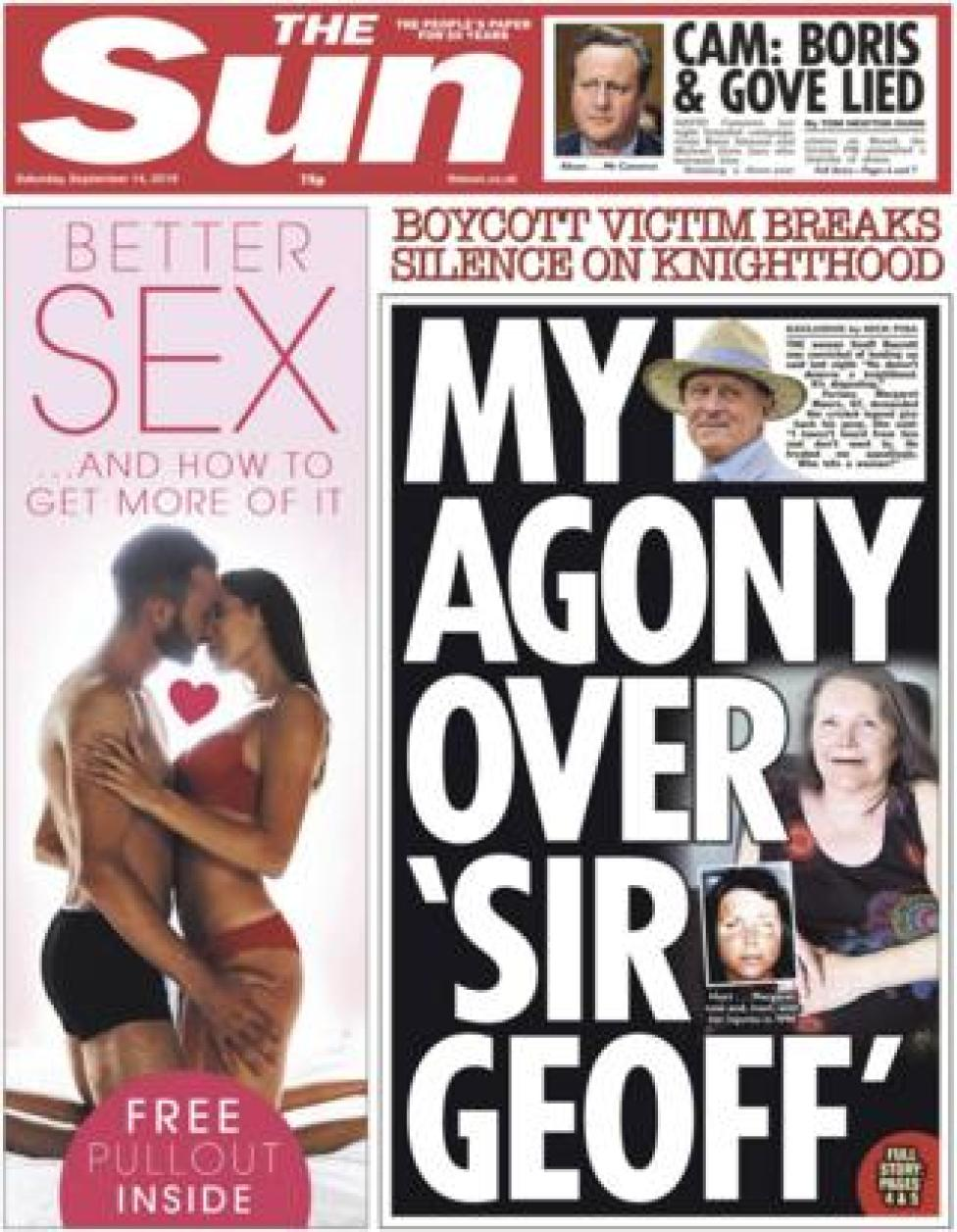 The front page of the Sun on 14 September 2019