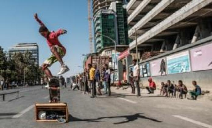 Skaters in Addis Ababa on 3 February, the city's third Car Free Day