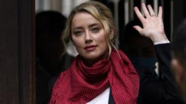 Amber Heard arrives at the High Court on Friday