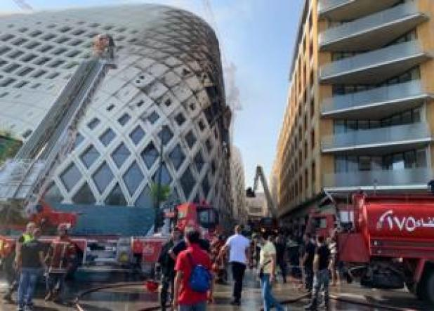 Fire personnel extinguished on notice of a fire at the under construction Beirut Sux Shopping Center in Beirut, Lebanon (15 September 2020).