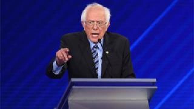 Democratic presidential hopeful US Senator for Vermont Bernie Sanders speaks during the third Democratic primary debate