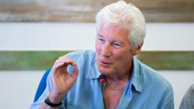 Richard Gere speaking during a press conference on the island of Lampedusa, 10 August 2019