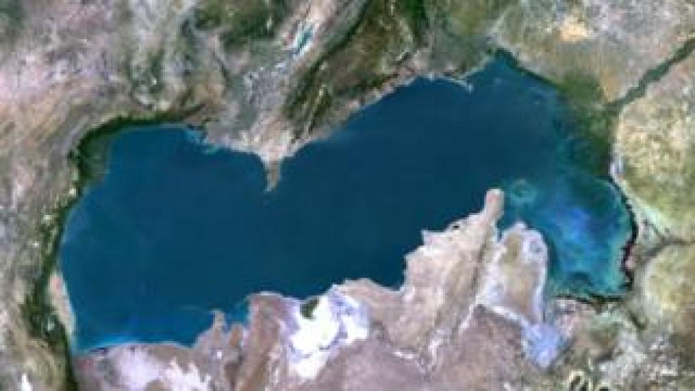 True colour satellite image of the Caspian Sea in Asia. It is bounded by Iran, Russia, Kazakhstan, Turkmenistan and Azerbaijan.