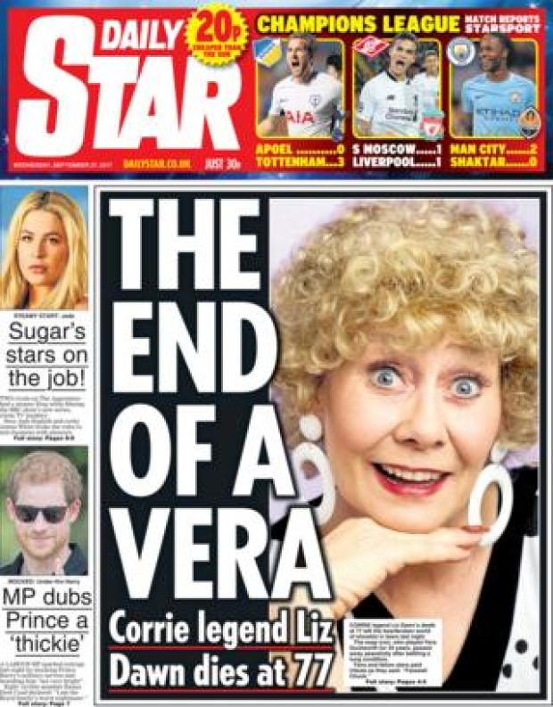 Daily Star front - 27/9/17