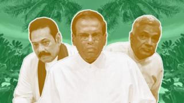 Composite picture showing Mahinda Rajapaksa, Maithripala Sirisena and Ranil Wickremesinghe