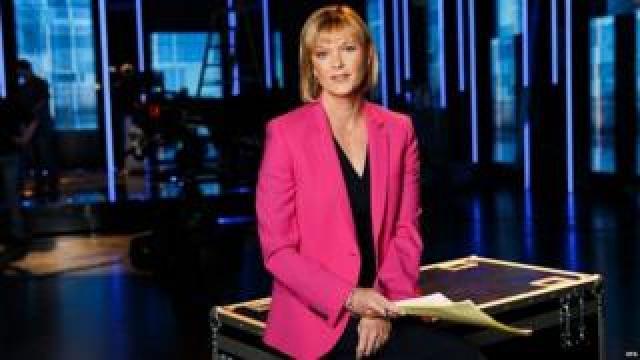 Julie Etchingham on the set of the ITV's leadership debate