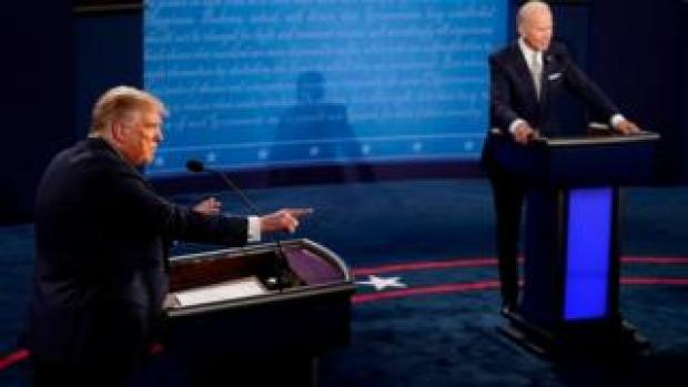 Donald Trump and Joe Biden on stage for the first presidential debate