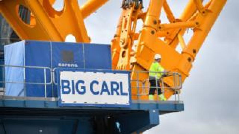 """The sign of """"Big Carl"""", the world""""s largest crane"""