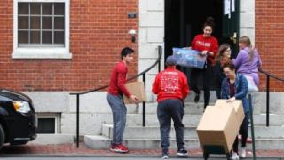 trump Students move out of dorm rooms on the campus of Harvard University last month