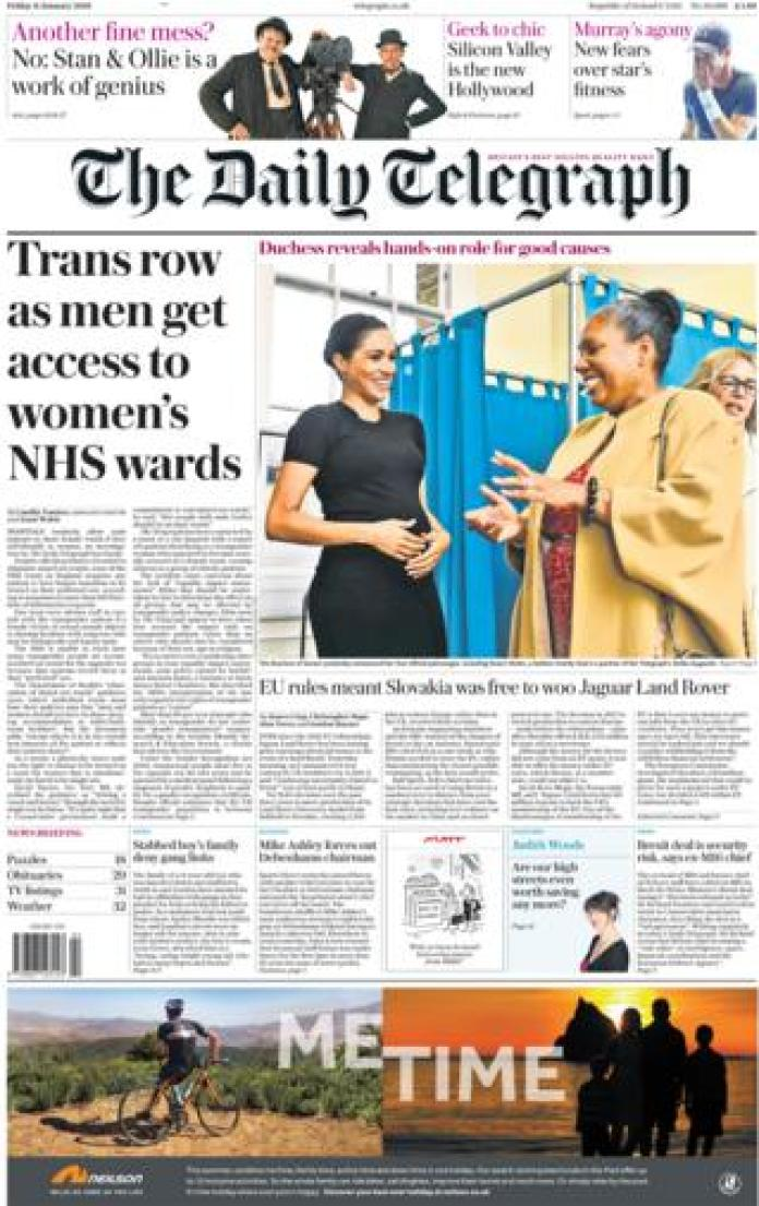 Daily Telegraph front page, 11/1/19