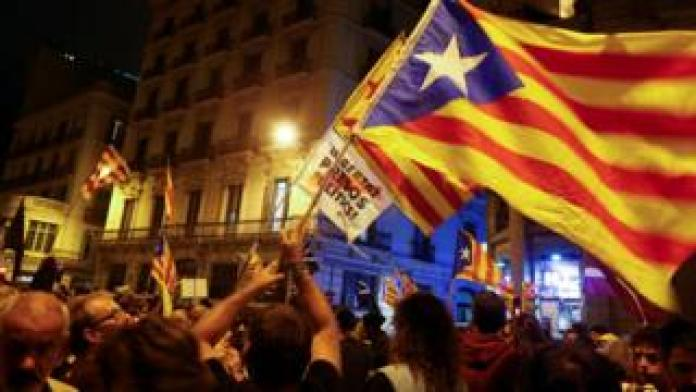 Pro-independence protesters on the streets of Barcelona this week