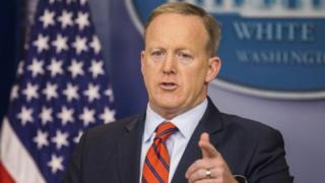 White House Press Secretary Sean Spicer speaks to the media during his daily briefing in the White House Press Briefing Room in Washington, DC, USA, 11 April 2017