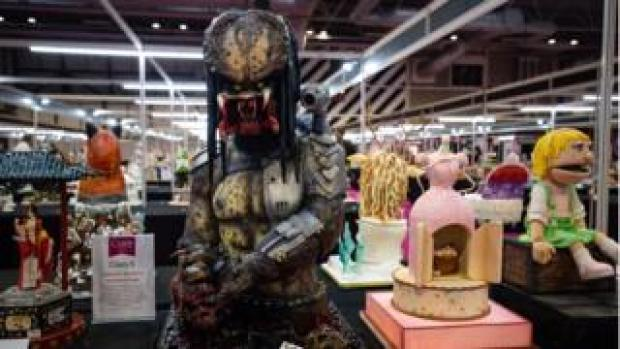 "Cakes, including a ""Predator"" entry, competing in the Pushing the Boundaries category at Cake International 2019 at the NEC, Birmingham."